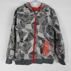 Nike Boys Gray Orange Hoodie Full Zip Jacket Sz 6